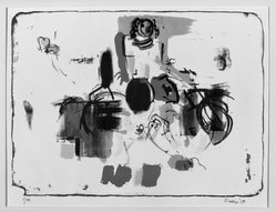 Larry Rivers (American, 1923-2002). <em>The Bike Girl</em>, 1958. Lithograph on paper, image: 11 3/4 x 16 in. (29.8 x 40.6 cm). Brooklyn Museum, Dick S. Ramsay Fund, 58.169.3. © artist or artist's estate (Photo: Brooklyn Museum, 58.169.3_acetate_bw.jpg)