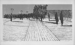 Jack Perlmutter (American, 1920-2006). <em>Boardwalk</em>, 1957. Lithograph on paper, image: 17 1/4 x 33 1/4 in. (43.8 x 84.5 cm). Brooklyn Museum, Dick S. Ramsay Fund, 58.52. © artist or artist's estate (Photo: Brooklyn Museum, 58.52_acetate_bw.jpg)