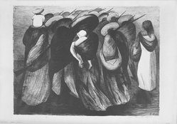 José Clemente Orozco (Mexican, 1883-1949). <em>Rear Guard</em>, 1929. Lithograph on paper, image: 13 3/4 x 18 1/2 in. (34.9 x 47 cm). Brooklyn Museum, Caroline A.L. Pratt Fund, 59.15.8. © artist or artist's estate (Photo: Brooklyn Museum, 59.15.8_acetate_bw.jpg)