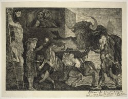 Pablo Picasso (Spanish, 1881-1973). <em>La Minotauromachia</em>, 1935. Etching, scraper and burin on heavy laid paper Brooklyn Museum, Frank L. Babbott Fund, Frederick Loeser Fund, and Museum Collection Fund, 59.30. © artist or artist's estate (Photo: Brooklyn Museum, 59.30_SL1.jpg)