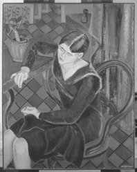 Abraham F. Levinson (American, 1883-1946). <em>Adele Levinson Ernst</em>. Oil on canvas, Other: 38 x 30 in. (96.5 x 76.2 cm). Brooklyn Museum, Gift of Mrs. A. F. Levinson, 59.89. © artist or artist's estate (Photo: Brooklyn Museum, 59.89_acetate_bw.jpg)