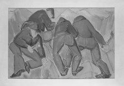 Abraham F. Levinson (American, 1883-1946). <em>Quarrymen</em>. Gouache Brooklyn Museum, Gift of Mrs. Abraham F. Levinson, 59.90. © artist or artist's estate (Photo: Brooklyn Museum, 59.90_acetate_bw.jpg)