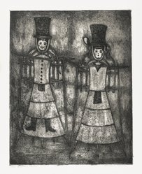 Lola Cueto (Mexican, 1897-1978). <em>Figuras de Calenda</em>, 1952. Soft ground etching Brooklyn Museum, Carll H. de Silver Fund, 60.128.2. © artist or artist's estate (Photo: Brooklyn Museum, 60.128.2_PS2.jpg)