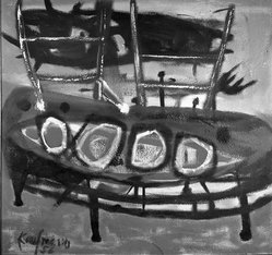 Robert D. Kaufmann (American, 1913-1959). <em>Curved Table and Two Chairs</em>, 1956. Oil on panel, 48 x 45 1/2 in. (121.9 x 115.6 cm). Brooklyn Museum, Gift of Walter A. Weiss, 60.141. © artist or artist's estate (Photo: Brooklyn Museum, 60.141_acetate_bw.jpg)