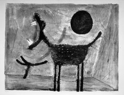Rufino Tamayo (Mexican, 1899-1991). <em>Howling Wolves</em>. Lithograph on paper, 19 1/4 x 25 1/2 in. (48.9 x 64.8 cm). Brooklyn Museum, Gift of Marvin Small, 61.171.1. © artist or artist's estate (Photo: Brooklyn Museum, 61.171.1_acetate_bw.jpg)
