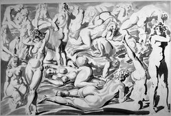 Reginald Marsh (American, 1898-1954). <em>Nudes</em>, 1947. Pen and Chinese ink wash, Sheet: 26 15/16 x 39 13/16 in. (68.4 x 101.1 cm). Brooklyn Museum, Gift of Mrs. Reginald Marsh, 61.237.1. © artist or artist's estate (Photo: Brooklyn Museum, 61.237.1_acetate_bw.jpg)
