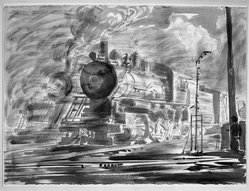 Reginald Marsh (American, 1898-1954). <em>Locomotive</em>, 1947. Chinese ink drawing with wash and charcoal on paper, Sheet: 22 1/8 x 29 7/8 in. (56.2 x 75.9 cm). Brooklyn Museum, Gift of Mrs. Reginald Marsh, 61.237.2. © artist or artist's estate (Photo: Brooklyn Museum, 61.237.2_acetate_bw.jpg)