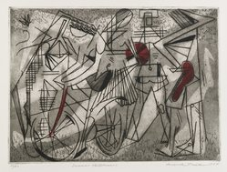 Roderick Mead (American, 1900-1971). <em>Summer Vacationers</em>, 1954. Hard and soft ground etching on paper, image: 6 3/4 x 9 in. (17.1 x 22.9 cm). Brooklyn Museum, Gift of Mrs. Roderick Mead, 61.238.2. © artist or artist's estate (Photo: Brooklyn Museum, 61.238.2_PS4.jpg)