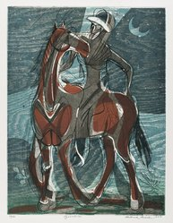 Roderick Mead (American, 1900-1971). <em>Equestrian</em>, 1953. Engraving with hard and soft ground etching color offset from woodcut, on paper, image: 11 3/4 x 8 7/8 in. (29.8 x 22.5 cm). Brooklyn Museum, Gift of Mrs. Roderick Mead, 61.238.3. © artist or artist's estate (Photo: Brooklyn Museum, 61.238.3_PS4.jpg)