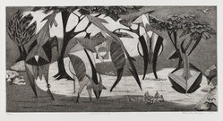 Roderick Mead (American, 1900-1971). <em>Horned Animals</em>, 1954. Engraving with soft ground etching and drypoint on paper, image: 8 3/4 x 17 3/4 in. (22.2 x 45.1 cm). Brooklyn Museum, Gift of Mrs. Roderick Mead, 61.238.4. © artist or artist's estate (Photo: Brooklyn Museum, 61.238.4_PS4.jpg)