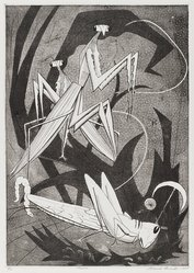 Roderick Mead (American, 1900-1971). <em>Mantis</em>, 1957. Engraving and soft ground etching on paper, image: 15 1/2 x 11 in. (39.4 x 27.9 cm). Brooklyn Museum, Gift of Mrs. Roderick Mead, 61.238.6. © artist or artist's estate (Photo: Brooklyn Museum, 61.238.6_PS4.jpg)