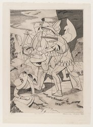 Roderick Mead (American, 1900-1971). <em>Incident</em>, 1947. Engraving and soft ground etching on paper, image: 10 3/8 x 7 1/2 in. (26.4 x 19.1 cm). Brooklyn Museum, Gift of Mrs. Roderick Mead, 61.238.7. © artist or artist's estate (Photo: Brooklyn Museum, 61.238.7_PS4.jpg)