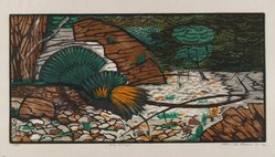 Roderick Mead (American, 1900-1971). <em>Dry Arroyo</em>, 1961. Woodcut on paper, image: 8 x 15 7/8 in. (20.3 x 40.3 cm). Brooklyn Museum, Gift of Mrs. Roderick Mead, 61.238.9. © artist or artist's estate (Photo: Brooklyn Museum, 61.238.9_PS4.jpg)