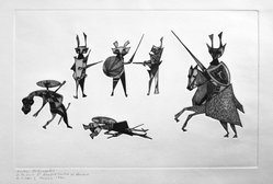 Guillermo Silva Santamaria (Colombian, born 1921). <em>Medieval Combats</em>, 1960. Embossed engraving on paper, sheet: 12 15/16 x 19 15/16 in. (32.9 x 50.6 cm). Brooklyn Museum, Carll H. de Silver Fund, 61.5.9. © artist or artist's estate (Photo: Brooklyn Museum, 61.5.9_acetate_bw.jpg)