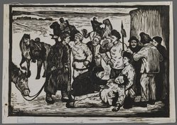 Wang Kin Chiu. <em>Revenge for the Dead</em>, ca. 1945. Woodcut on laid China paper, 5 1/2 x 7 7/8 in. (14 x 20 cm). Brooklyn Museum, Anonymous gift, 62.111.10. © artist or artist's estate (Photo: Brooklyn Museum, 62.111.10_IMLS_PS3.jpg)