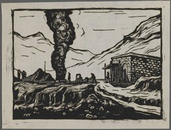 Ma Dah. <em>Steel Refinery</em>, ca. 1945. Woodcut, 5 5/16 x 7 5/16 in. (13.5 x 18.5 cm). Brooklyn Museum, Anonymous gift, 62.111.1 (Photo: Brooklyn Museum, 62.111.1_IMLS_PS3.jpg)