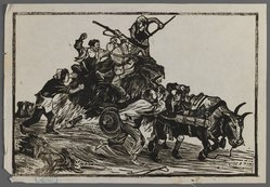 Nee Han. <em>Recapture of Food</em>, ca. 1945. Woodcut, 10 1/16 x 6 3/4 in. (25.5 x 17.2 cm). Brooklyn Museum, Anonymous gift, 62.111.5 (Photo: Brooklyn Museum, 62.111.5_IMLS_PS3.jpg)