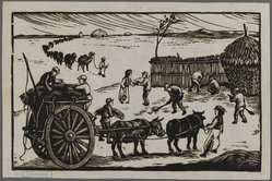 Chang Wang. <em>Help the Mongols in Reaping Their Crops</em>, ca. 1945. Woodblock print on paper, 4 5/8 x 7 5/16 in. (11.8 x 18.5 cm). Brooklyn Museum, Anonymous gift, 62.111.7 (Photo: Brooklyn Museum, 62.111.7_IMLS_PS3.jpg)