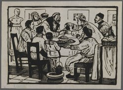Chi Kwei Sung. <em>Let's Have a Drink to Celebrate the New Year Eve</em>, ca. 1945. Woodcut on paper, 5 1/16 x 7 1/16 in. (12.9 x 18 cm). Brooklyn Museum, Anonymous gift, 62.111.8 (Photo: Brooklyn Museum, 62.111.8_IMLS_PS3.jpg)