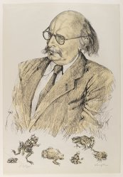 Tsuguharu Foujita (French, born Japan, 1886-1968). <em>Jean Rostand</em>. Lithograph in color on wove paper, 21 3/4 x 15 in. (55.2 x 38.1 cm). Brooklyn Museum, Gift of Dr. Emanuel Klein, 62.183.31. © artist or artist's estate (Photo: Brooklyn Museum, 62.183.31_IMLS_PS4.jpg)