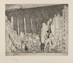 Lyonel Feininger (American, 1871-1956). <em>The Disparagers</em>, 1911. Etching on tan laid paper, Image: 8 9/16 x 10 3/8 in. (21.7 x 26.3 cm). Brooklyn Museum, Dick S. Ramsay Fund, 62.59.1. © artist or artist's estate (Photo: Brooklyn Museum, 62.59.1_PS4.jpg)