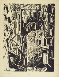 Lyonel Feininger (American, 1871-1956). <em>Houses in Paris (Hauser in Paris)</em>, 1918. Woodcut on Kozo paper, Image: 21 7/16 x 16 1/2 in. (54.5 x 41.9 cm). Brooklyn Museum, Dick S. Ramsay Fund, 62.59.2. © artist or artist's estate (Photo: Brooklyn Museum, 62.59.2_PS2.jpg)
