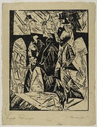 Lyonel Feininger (American, 1871-1956). <em>Promenaders (Spaziergauger)</em>, 1918. Woodcut on (imitation) Japan paper, Image: 14 9/16 x 11 1/2 in. (37 x 29.2 cm). Brooklyn Museum, Dick S. Ramsay Fund, 62.59.3. © artist or artist's estate (Photo: Brooklyn Museum, 62.59.3_PS2.jpg)