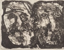 Leslie R. Krims (American). <em>Heads of Stone</em>, 1963. Lithograph, Sheet: 16 1/8 x 20 in. (41 x 50.8 cm). Brooklyn Museum, Gift of Seong Moy, 63.109.11. © artist or artist's estate (Photo: Brooklyn Museum, 63.109.11.jpg)