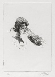 Shelly Fink (American, 1925-2002). <em>Untitled (Woman with Hand to Cheek) 1962</em>, 1962. Etching, 4 1/2 x 3 1/4 in. (11.4 x 8.3 cm). Brooklyn Museum, Dick S. Ramsay Fund, 63.110.1. © artist or artist's estate (Photo: Brooklyn Museum, 63.110.1_PS2.jpg)