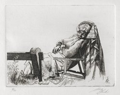 Shelly Fink (American, 1925-2002). <em>Untitled (Woman Asleep in Chair) 1962</em>, 1962. Etching, 3 1/2 x 4 5/8 in. (8.9 x 11.7 cm). Brooklyn Museum, Dick S. Ramsay Fund, 63.110.2. © artist or artist's estate (Photo: Brooklyn Museum, 63.110.2_PS2.jpg)