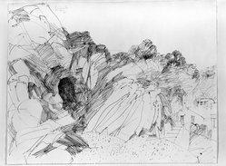 Dietmar Lemcke (German, born 1930). <em>Italina Landscape</em>, 1961. Pen and ink on paper, sheet: 19 1/4 x 24 7/8 in. (48.9 x 63.2 cm). Brooklyn Museum, Carll H. de Silver Fund, 63.112.1. © artist or artist's estate (Photo: Brooklyn Museum, 63.112.1_acetate_bw.jpg)