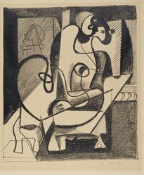 Arshile Gorky (American, born Armenia, 1904-1948). <em>Painter and Model</em>, 1931. Lithograph on wove paper, sheet: 17 × 13 15/16 in. (43.2 × 35.4 cm). Brooklyn Museum, Dick S. Ramsay Fund, 63.116.5. © artist or artist's estate (Photo: Brooklyn Museum, 63.116.5_PS2.jpg)