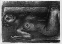 David Alfaro Siqueiros (Mexican, 1896-1974). <em>Reclining Nude</em>, ca. 1930s. Lithograph on paper, 16 x 22 3/4 in. (40.6 x 57.8 cm). Brooklyn Museum, Dick S. Ramsay Fund, 63.116.6. © artist or artist's estate (Photo: Brooklyn Museum, 63.116.6_acetate_bw.jpg)