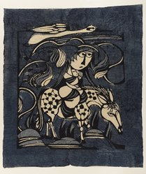 Watanabe Sadao (Japanese, 1913-1996). <em>The Flight into Egypt</em>, 1962. Woodcut on paper, 20 1/2 x 17 1/4 in. (52.1 x 43.8 cm). Brooklyn Museum, Frederick Loeser Fund, 63.13.6. © artist or artist's estate (Photo: Brooklyn Museum, 63.13.6_IMLS_PS4.jpg)