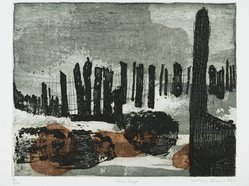 Kathan Brown (American, born 1935). <em>River Edge</em>, 1962. Etching in color on paper, 11 1/4 x 14 1/2 in. (28.6 x 36.8 cm). Brooklyn Museum, Frederick Loeser Fund, 63.13.7. © artist or artist's estate (Photo: Brooklyn Museum, 63.13.7_PS2.jpg)