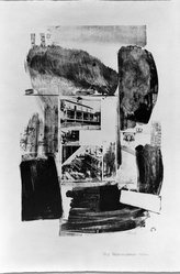Robert Rauschenberg (American, 1925-2008). <em>Suburb</em>, 1962. Lithograph on paper, 28 1/4 x 19 in. (71.8 x 48.3 cm). Brooklyn Museum, Dick S. Ramsay Fund, 63.16.1. © artist or artist's estate (Photo: Brooklyn Museum, 63.16.1_acetate_bw.jpg)