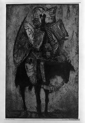 Dean Meeker (American, 1920-2002). <em>Genghis Khan</em>, 1962. Intaglio (the plate for this print was developed on an aluminum base with Polymar.  Silk-screen color was used., image: 27 3/4 x 17 3/4 in. (70.5 x 45.1 cm). Brooklyn Museum, Dick S. Ramsay Fund, 63.17.3. © artist or artist's estate (Photo: Brooklyn Museum, 63.17.3_acetate_bw.jpg)