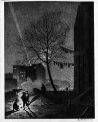 Martin Lewis (American, born Australia, 1883-1962). <em>Tree, Manhattan</em>, 1930. Drypoint and sand ground on paper, image: 12 7/8 x 9 7/8 in. (32.7 x 25.1 cm). Brooklyn Museum, Gift of Mrs. Dudley Nichols in memory of her husband, 63.204.13. © artist or artist's estate (Photo: Brooklyn Museum, 63.204.13_acetate_bw.jpg)
