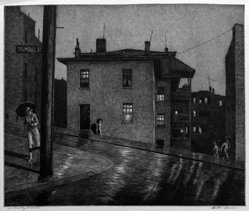 Martin Lewis (American, born Australia, 1883-1962). <em>Trumbull St. Hartford, Conn.</em>, 1935. Etching on paper, sheet: 14 5/16 x 17 in. (36.4 x 43.2 cm). Brooklyn Museum, Gift of Mrs. Dudley Nichols in memory of her husband, 63.204.24. © artist or artist's estate (Photo: Brooklyn Museum, 63.204.24_acetate_bw.jpg)
