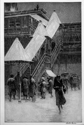 Martin Lewis (American, born Australia, 1883-1962). <em>Snow on the El</em>, 1931. Drypoint and sand ground on paper, sheet: 17 7/8 x 12 5/8 in. (45.4 x 32.1 cm). Brooklyn Museum, Gift of Mrs. Dudley Nichols in memory of her husband, 63.204.26. © artist or artist's estate (Photo: Brooklyn Museum, 63.204.26_acetate_bw.jpg)