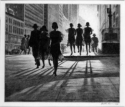 Martin Lewis (American, born Australia, 1883-1962). <em>Shadow Dance</em>, 1930. Drypoint, sandpaper ground on paper, sheet:12 11/16 x 14 15/16 in. Brooklyn Museum, Gift of Mrs. Dudley Nichols in memory of her husband, 63.204.5. © artist or artist's estate (Photo: Brooklyn Museum, 63.204.5_bw.jpg)