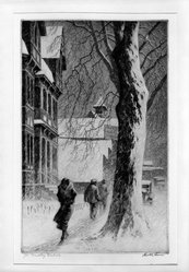 Martin Lewis (American, born Australia, 1883-1962). <em>Winter on White St. Danbury</em>, n.d. Etching on paper, image: 10 7/8 x 6 7/8 in. (27.6 x 17.5 cm). Brooklyn Museum, Gift of Mrs. Dudley Nichols in memory of her husband, 63.204.8. © artist or artist's estate (Photo: Brooklyn Museum, 63.204.8_acetate_bw.jpg)