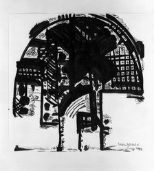 Bernhard Luginbuehl (Swiss, born 1929). <em>Drawing</em>, 1961. Brush and ink on wove paper, 15 5/8 x 15 1/2 in. (39.7 x 39.4 cm). Brooklyn Museum, Caroline A.L. Pratt Fund, 63.205.1. © artist or artist's estate (Photo: Brooklyn Museum, 63.205.1_acetate_bw.jpg)