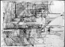 Bernhard Luginbuehl (Swiss, born 1929). <em>Engraving V</em>, 1962. Engraving on wove paper, 35 1/16 x 25 9/16 in. (89 x 65 cm). Brooklyn Museum, Caroline A.L. Pratt Fund, 63.205.2. © artist or artist's estate (Photo: Brooklyn Museum, 63.205.2_acetate_bw.jpg)