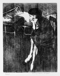 Raphael Soyer (American, born Russia, 1899-1987). <em>Untitled (Girl Sitting)</em>, 1963. Etching and aquatint on paper, 10 x 8 in. (25.4 x 20.3 cm). Brooklyn Museum, Dick S. Ramsay Fund, 63.209. © artist or artist's estate (Photo: Brooklyn Museum, 63.209_bw.jpg)