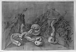 William Brice (American, born 1921). <em>Kelp and Landscape</em>, 1948. Ink and wash drawing on wove paper, sheet: 19 3/8 x 20 7/8 in. (49.2 x 53 cm). Brooklyn Museum, Gift of Dr. Milton Kramer, 63.238.1. © artist or artist's estate (Photo: Brooklyn Museum, 63.238.1_acetate_bw.jpg)