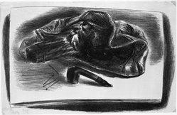 Yasuo Kuniyoshi (American, born Japan, 1889-1953). <em>Still Life with Pipe</em>, 1932. Lithograph Brooklyn Museum, Gift of Dr. Milton Kramer, 63.238.2. © artist or artist's estate (Photo: Brooklyn Museum, 63.238.2_bw.jpg)