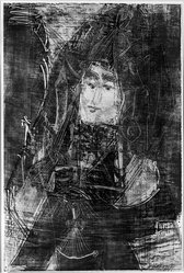 Bernard Reder (American, 1897-1963). <em>Lady with Veil</em>, 1957. Monotype on paper, 27 x 17 7/8 in. (68.6 x 45.4 cm). Brooklyn Museum, Dick S. Ramsay Fund, 63.63. © artist or artist's estate (Photo: Brooklyn Museum, 63.63_bw.jpg)