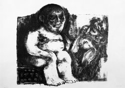 Jose Luis Cuevas (Mexican, 1934-2017). <em>Untitled (Seated Female Nude and One Male Figure in Background)</em>, 1962. Lithograph in color, Sheet: 15 3/4 x 22 in. (40 x 55.9 cm). Brooklyn Museum, Carll H. de Silver Fund, 63.64.7. © artist or artist's estate (Photo: Brooklyn Museum, 63.64.7_bw.jpg)