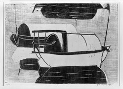 Chalood Nimsamer (Thai, born 1929). <em>Untitled (Boats)</em>, 1962. Woodcut on paper, 14 x 19 5/8 in. (35.6 x 49.8 cm). Brooklyn Museum, Carll H. de Silver Fund, 63.66.1. © artist or artist's estate (Photo: Brooklyn Museum, 63.66.1_acetate_bw.jpg)